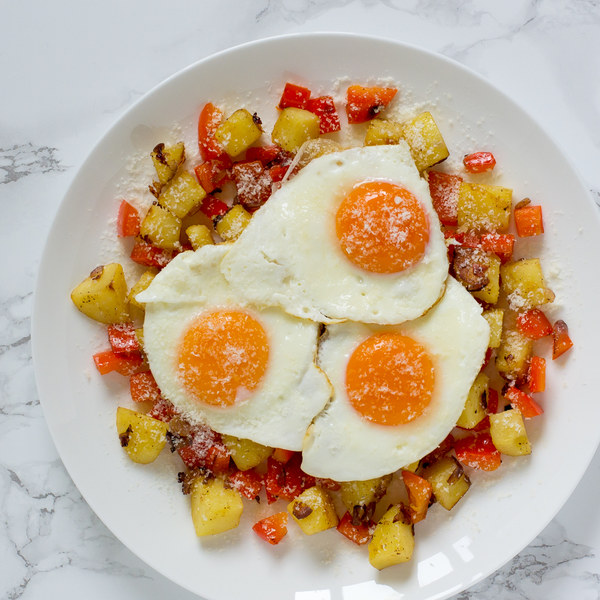 Potato & Red Pepper Hash with Fried Eggs & Parmesan