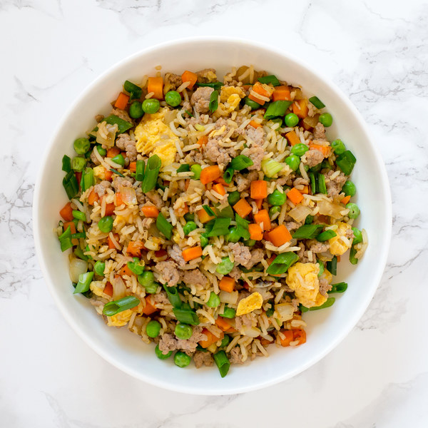 Turkey Fried Rice with Carrots, Peas & Scallions