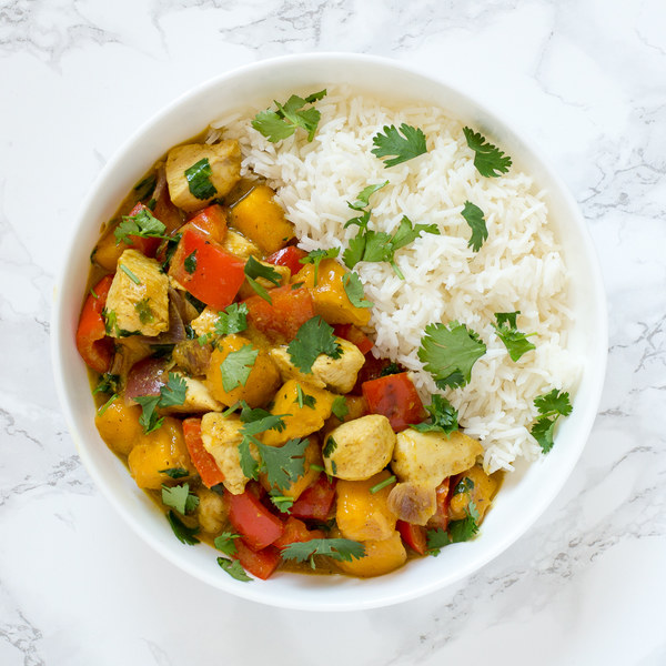 Mango Chicken Curry with Bell Pepper & Basmati Rice
