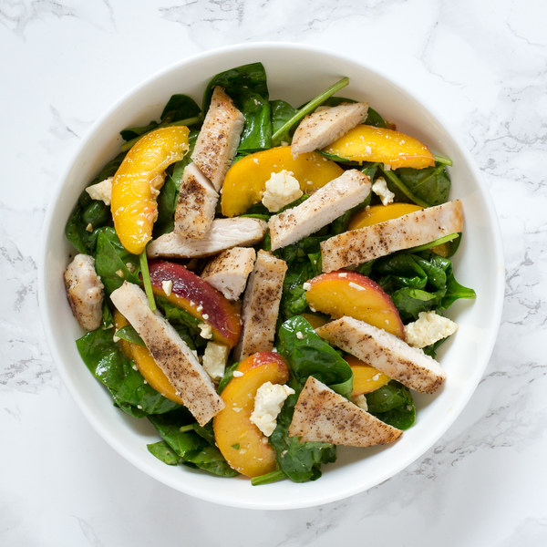 Chicken, Peach & Spinach Salad with Feta & Balsamic Vinaigrette
