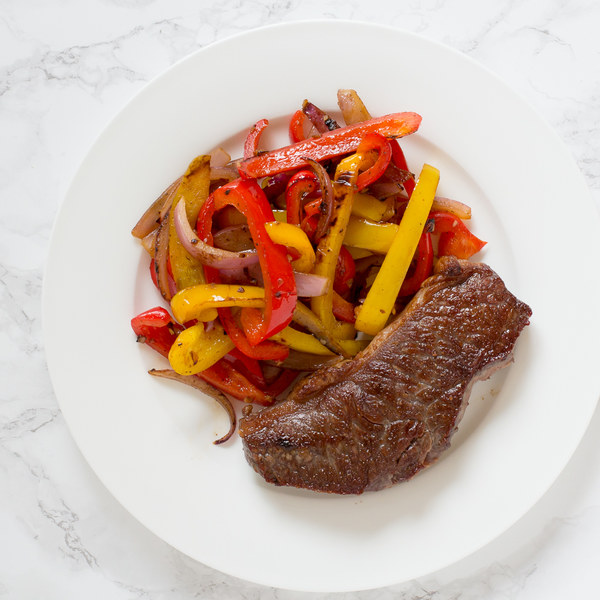 Striploin Steak with Balsamic Bell Peppers