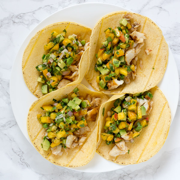 Fish Tacos with Avocado-Peach Salsa