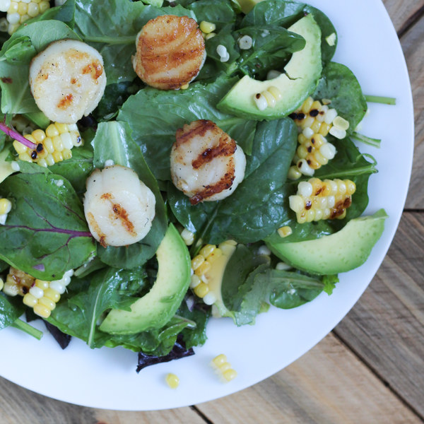 Grilled Scallops with Corn, Lime and Avocado Salad