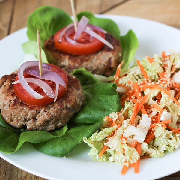 Turkey Bacon Burgers with Napa Cabbage & Carrot Sesame Slaw