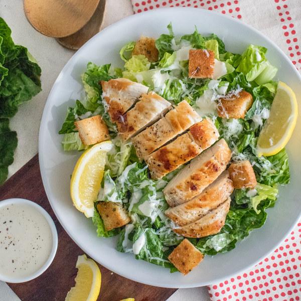 Chicken Caesar Salad with Yogurt Dressing & Garlic Croutons