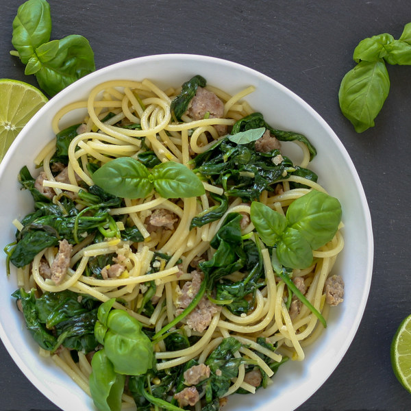 Asian Pork Noodles with Lime, Basil & Spinach