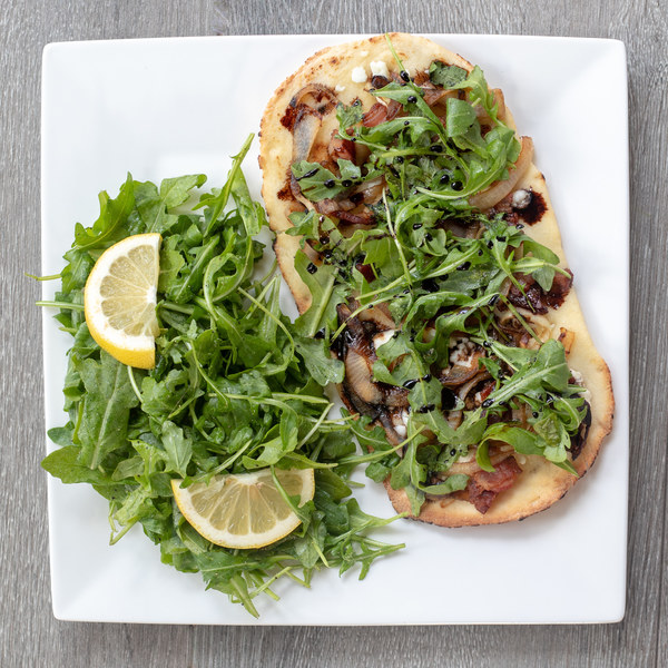 Bacon, Goat Cheese Pizza with Balsamic Glaze & Arugula Salad