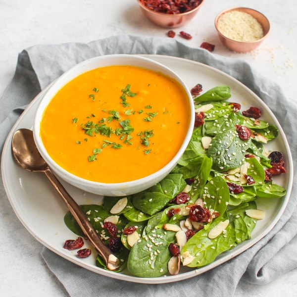 Carrot Ginger Soup with Cranberry-Almond Salad