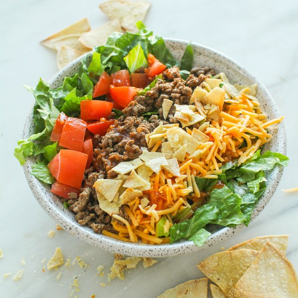 Beef Taco Salad with Cheddar & Catalina Dressing