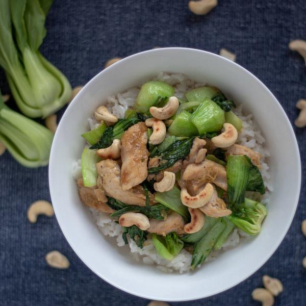 Teriyaki Chicken with Bok Choy, Cashews & Coconut Rice