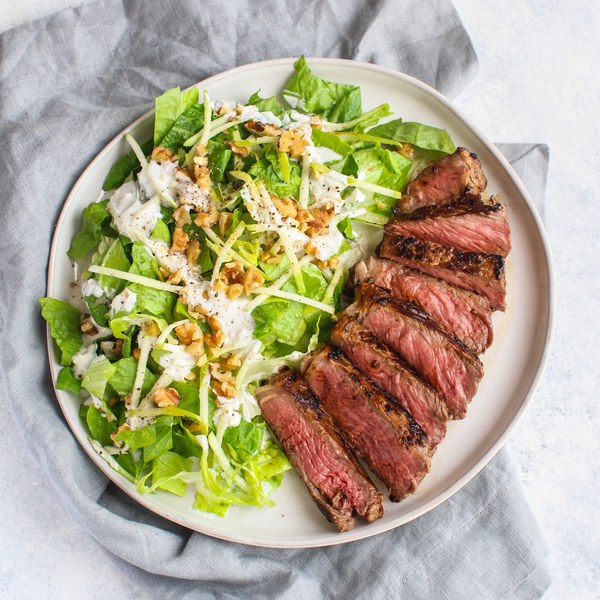 Marinated Steak with Crunchy Apple, Walnut & Blue Cheese Salad