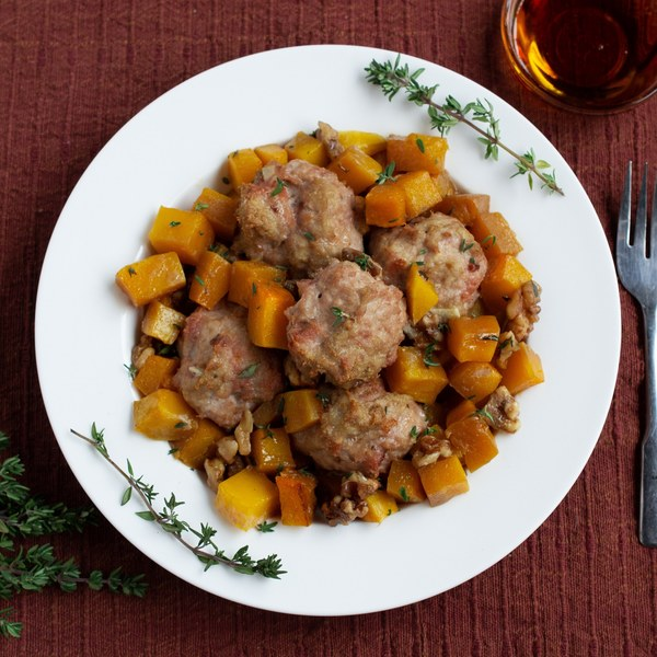 Maple Bacon Turkey Meatballs with Butternut Squash & Spiced Walnuts