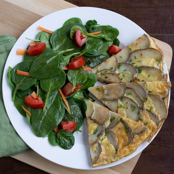 Spanish Potato & Onion Frittata with Spinach Salad