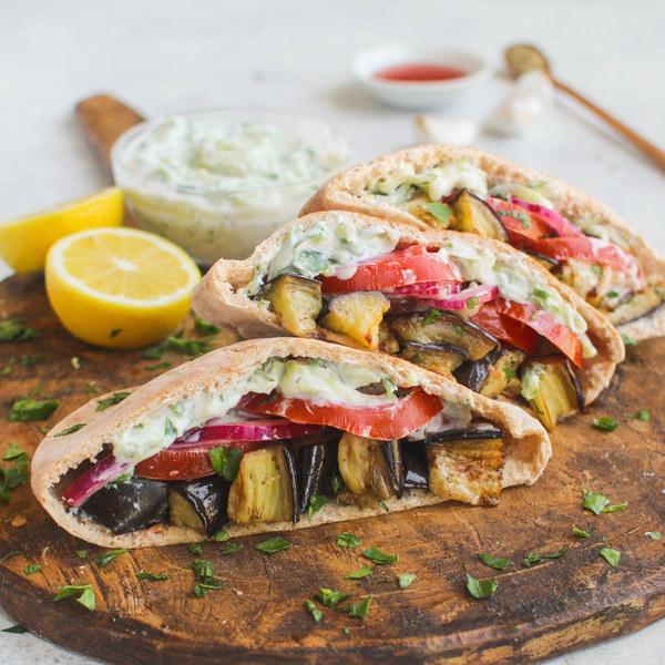 Roasted Eggplant Pitas with Tzatziki & Quick Pickled Onions