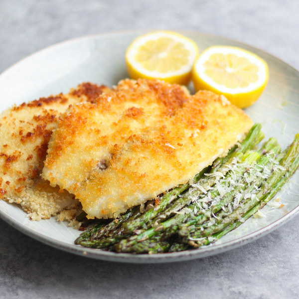 Panko Crusted Tilapia with Lemon Parmesan Asparagus