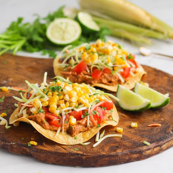 Roasted Corn & Bean Tostadas with Broccoli Slaw