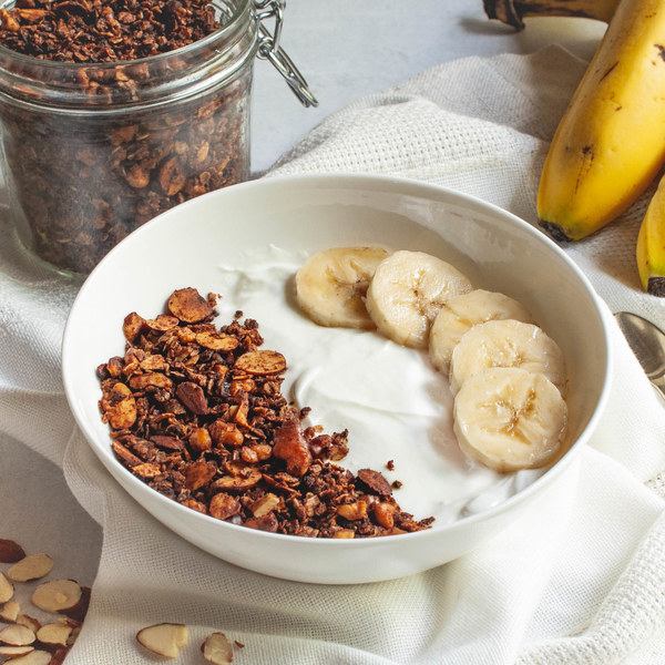 Chocolate Nutty Granola with Banana & Greek Yogurt