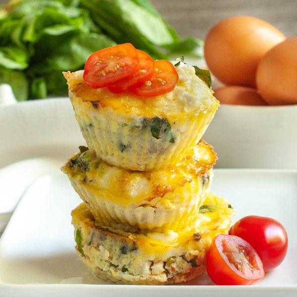 Tomato, Basil & Feta Breakfast Egg Muffins