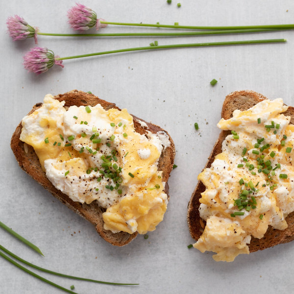 Soft Scrambled Eggs with Chives & Fresh Ricotta