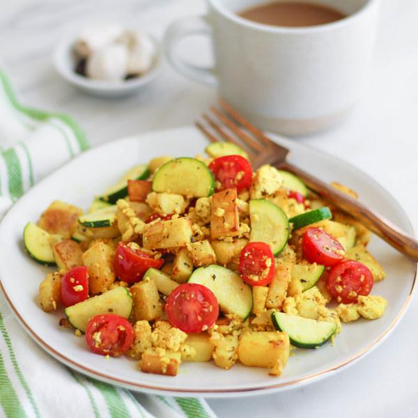 Italian Tofu Scramble with Potatoes, Zucchini & Cherry Tomatoes