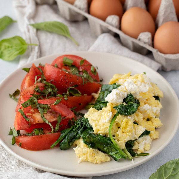 Spinach Feta Scramble with Tomato Basil Salad