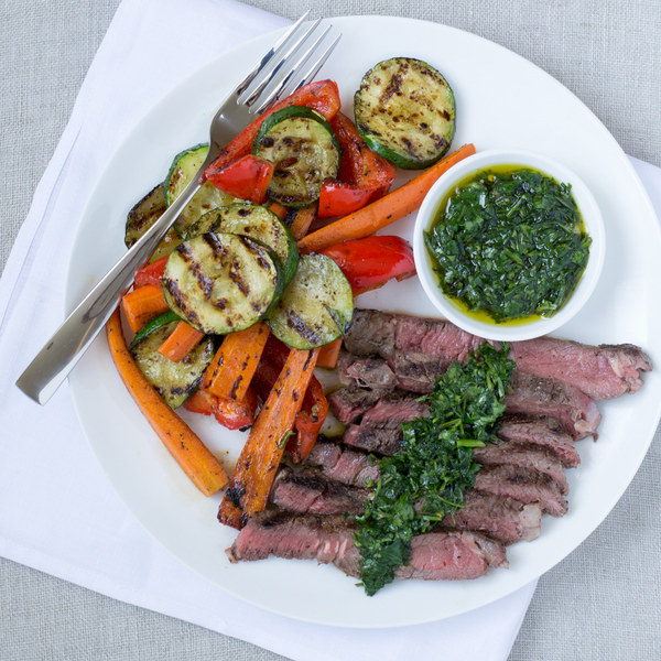 Grilled Steak & Vegetables with Chimichurri Sauce