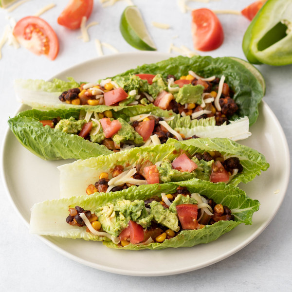 Sautéed Vegetable & Black Bean Tacos Boats with Tangy Tomato Guacamole