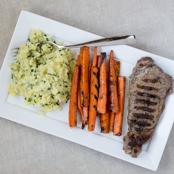 Grilled Steak & Carrots with Garlic Mashed Potatoes