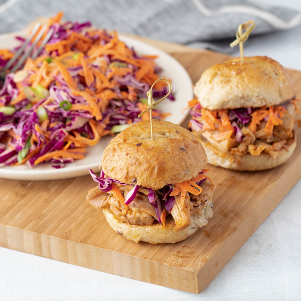 Barbeque Pulled Chicken Sliders with Creamy Cabbage Slaw