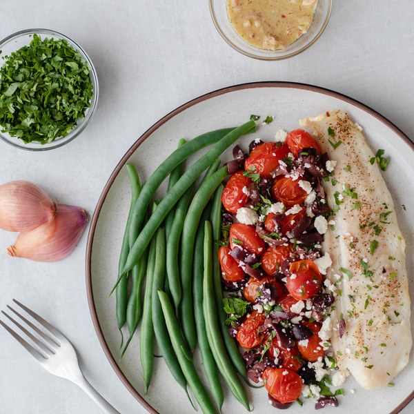Mediterranean Baked Tilapia with Green Beans, Tomatoes & Black Olives