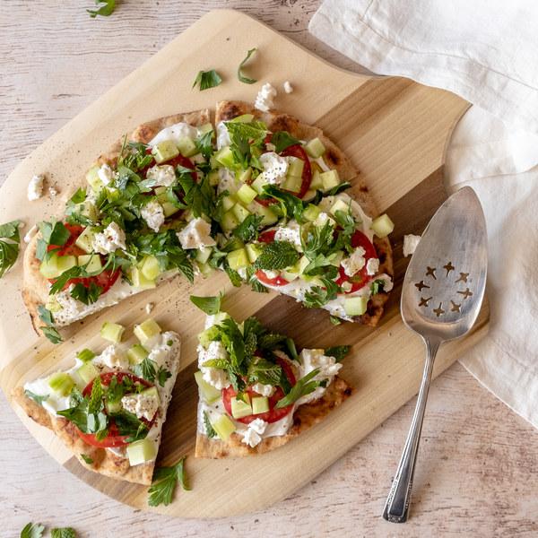 Persian Breakfast Flatbread with Yogurt, Feta & Fresh Herbs
