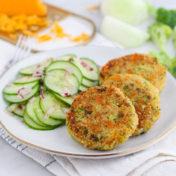 Cheesy Broccoli Quinoa Patties with Tangy Cucumber Salad