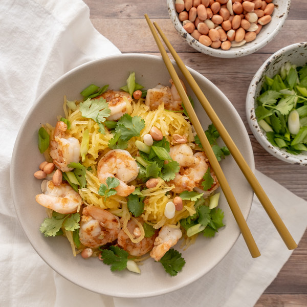 "Spaghetti Squash ""Pad Thai"" with Shrimp"