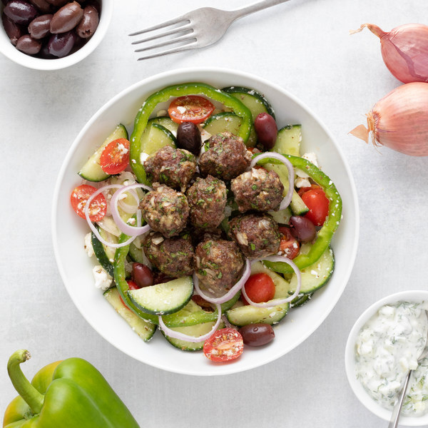 Greek Salad Bowl with Tzatziki & Baked Meatballs