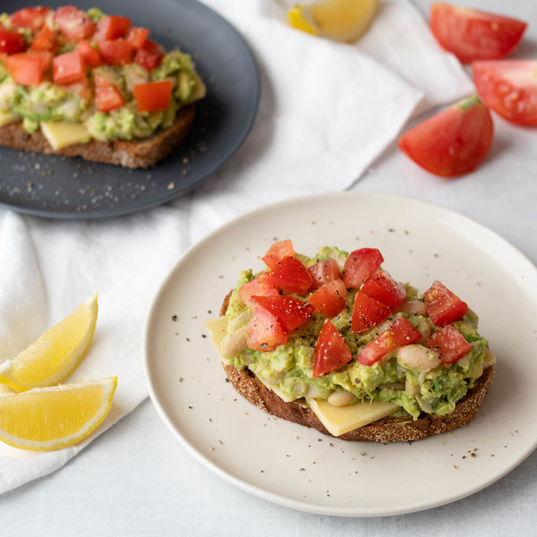 Avocado White Bean Toast with Cheddar