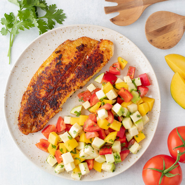 Blackened Tilapia with Minty Zucchini Mango Salad