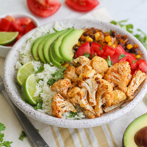 Roasted Cauliflower & Black Bean Burrito Bowl with Cilantro Lime Rice