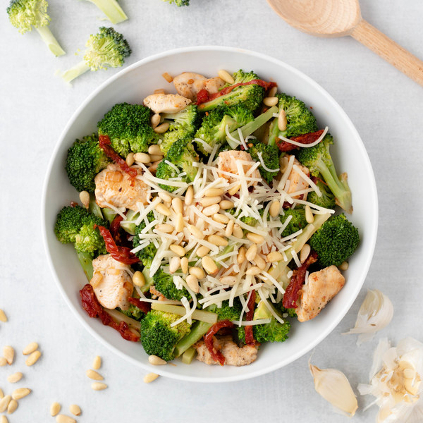 Sun-Dried Tomato Chicken with Broccoli, Pine Nuts & Parmesan