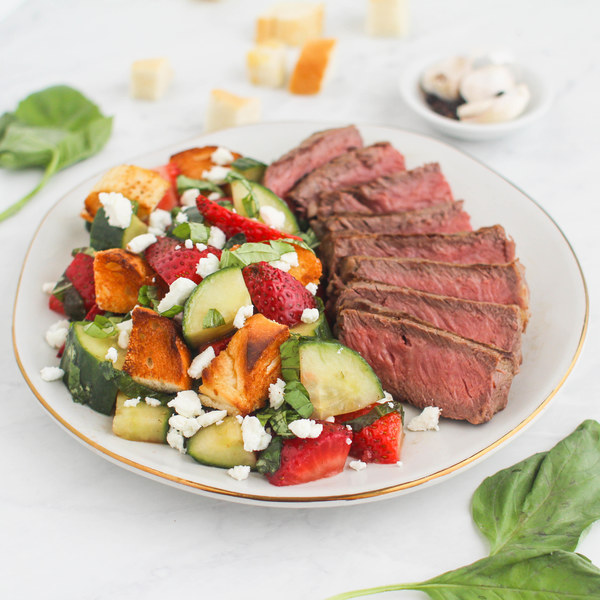 Grilled Steak with Strawberry Panzanella Salad