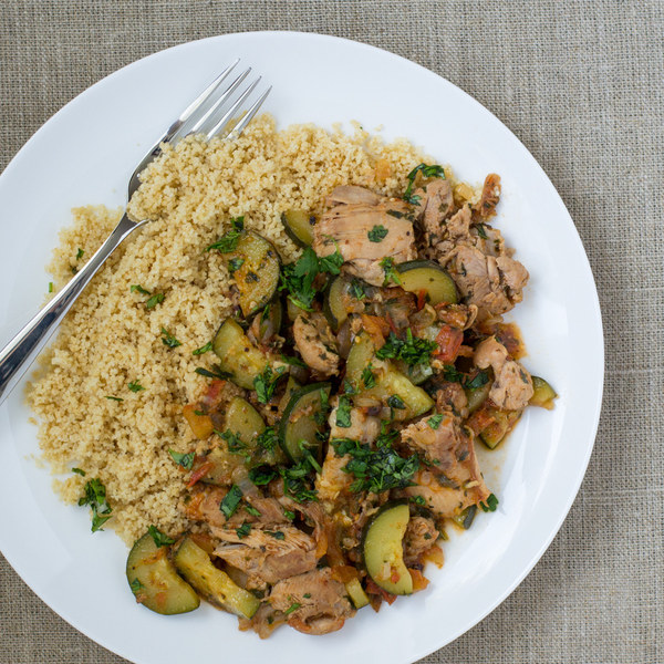 Moroccan Style Chicken with Zucchini & Couscous