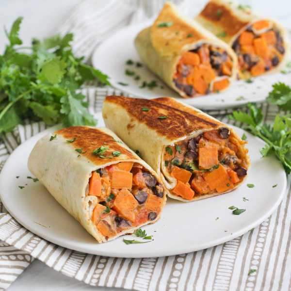 Spicy Sweet Potato & Black Bean Burrito