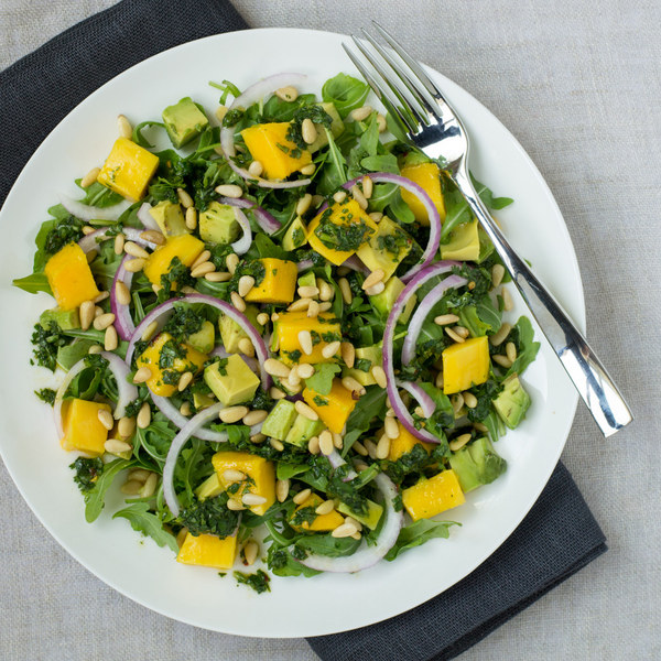 Mango, Avocado & Arugula Salad with Cilantro-Lime Dressing