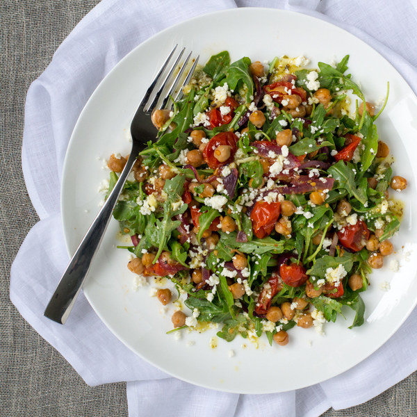 Roasted Chickpea & Tomato Salad with Arugula & Feta