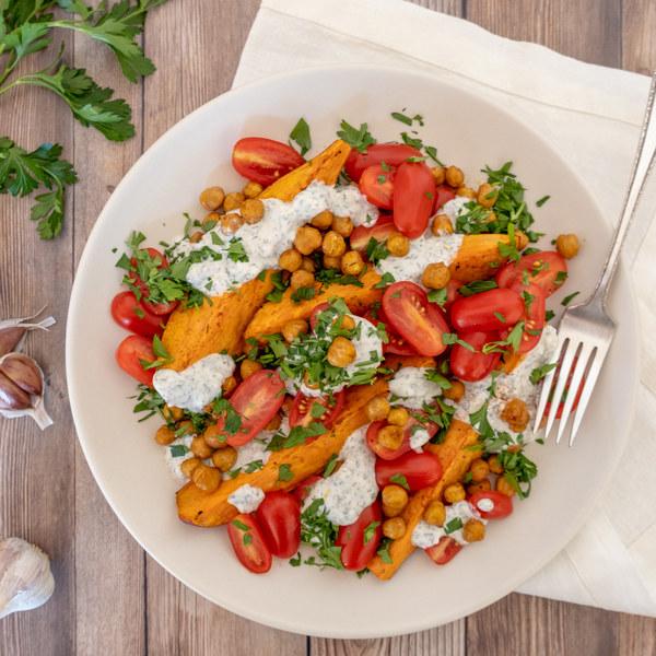 Mediterranean Sweet Potatoes with Chickpeas & Garlic-Yogurt Sauce