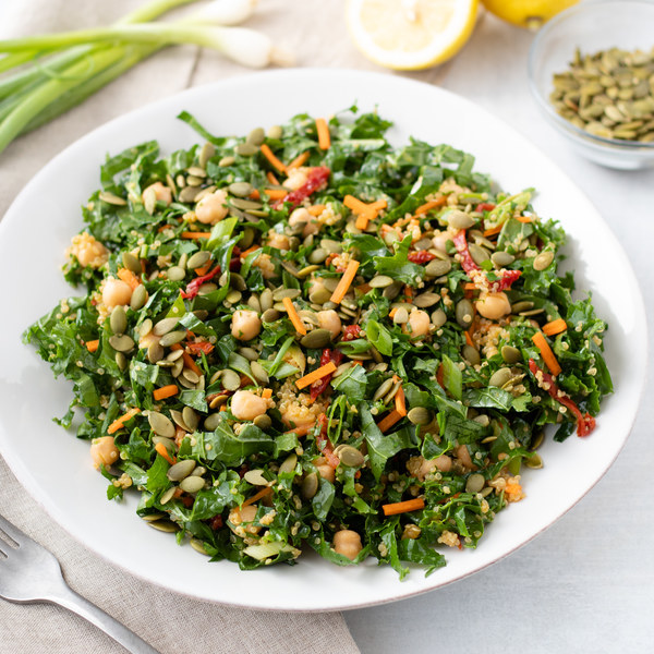 Zesty Chickpea Kale Salad with Sun-Dried Tomatoes & Pumpkin Seeds