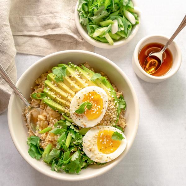 Savory Oatmeal with Soft-boiled Egg, Avocado, Fresh Herbs & Sesame