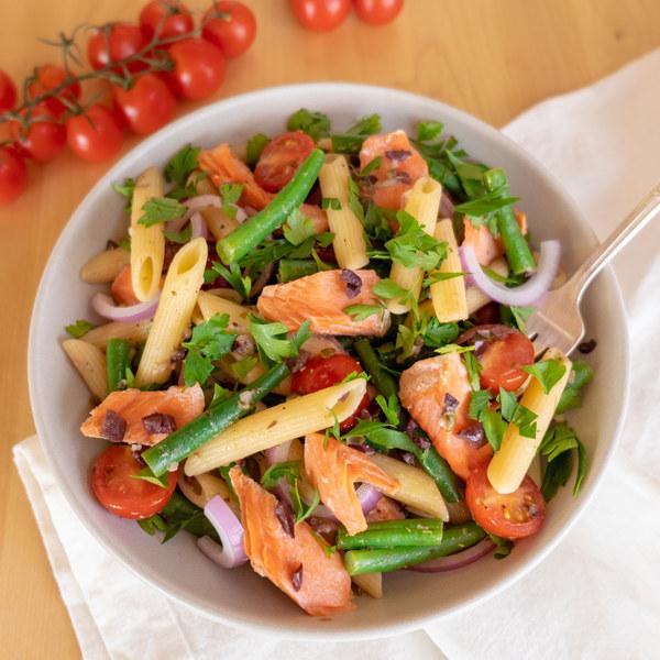 Salmon Nicoise Pasta Salad with Kalamata Olive-Caper Vinaigrette
