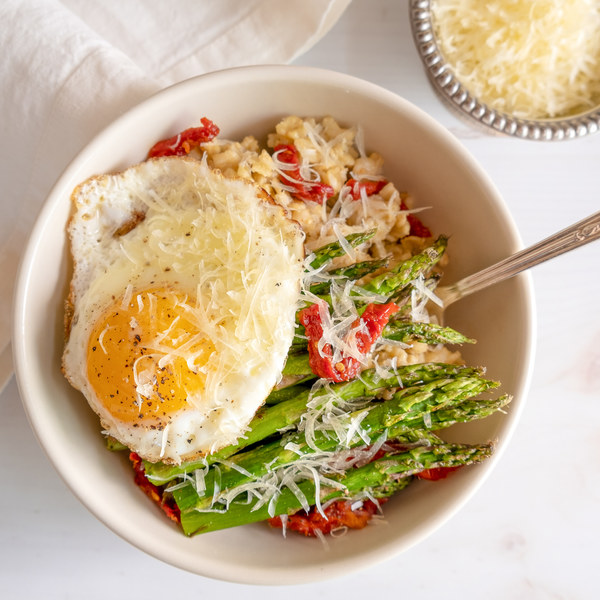 Savory Oatmeal with Egg, Asparagus, Sun-Dried Tomatoes & Parmesan