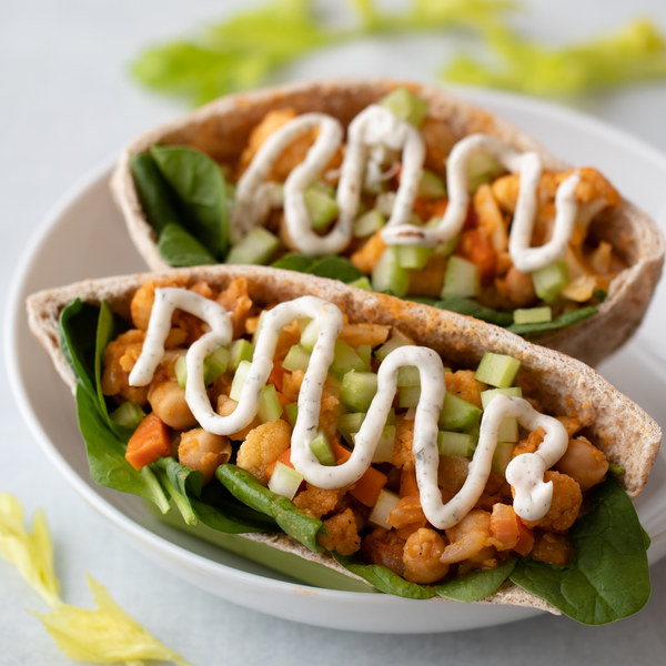 Buffalo Cauliflower & Chickpea Pita Pockets with Ranch Sauce