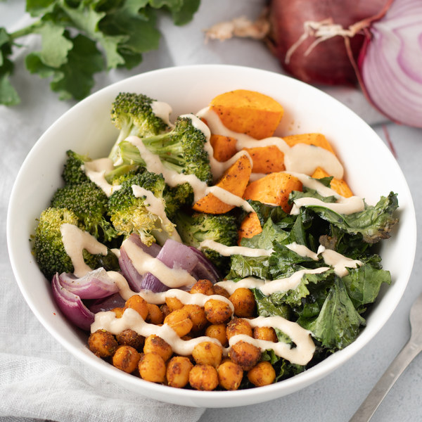 Sweet Potato Chickpea Bowls with Maple-Tahini Sauce